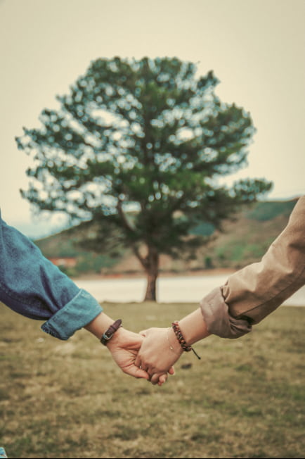 holding hands in front of a tree